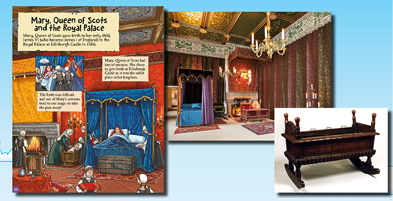 Photographs of the Royal Palace in Edinburgh Castle alongside an illustration of Mary Queen of Scots' room showing how the photos influenced the artwork.