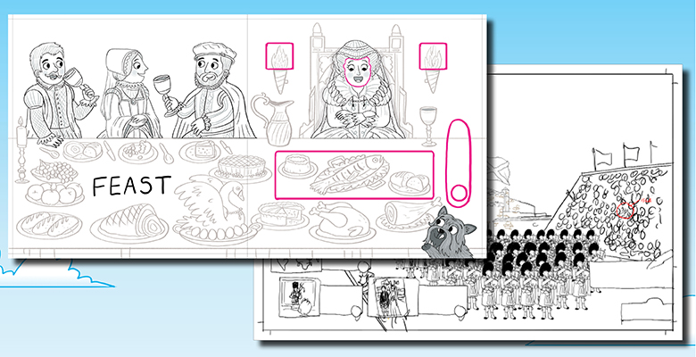 Initial drawings of a banquets featuring Mary Queen of Scots for use in a pop-up book.