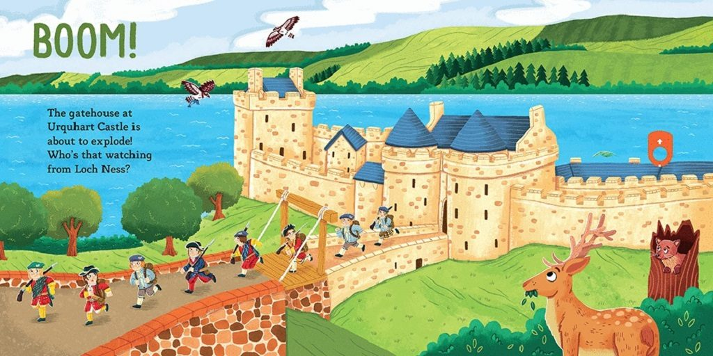 Detail from Little Explorers: Scottish Castles showing an illustration of a siege at Urquhart Castle