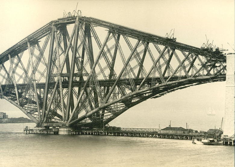 Archive photograph of a finished cantilever forming part of the Forth Bridge.