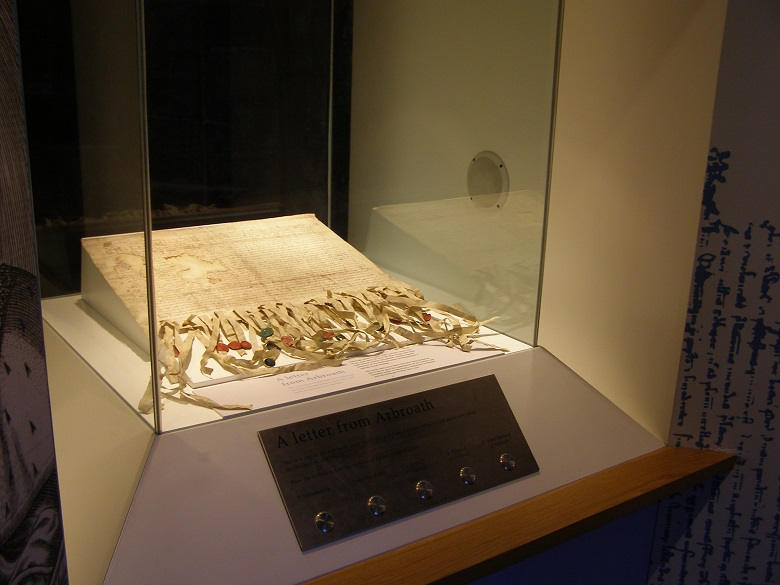 The Declaration document in a glass display case