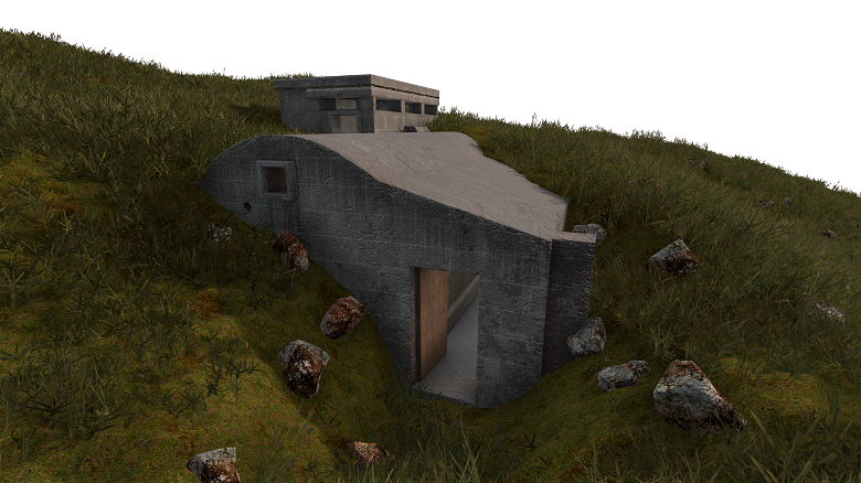 A virtual reality representation of a World War Two defense structure in Shetland