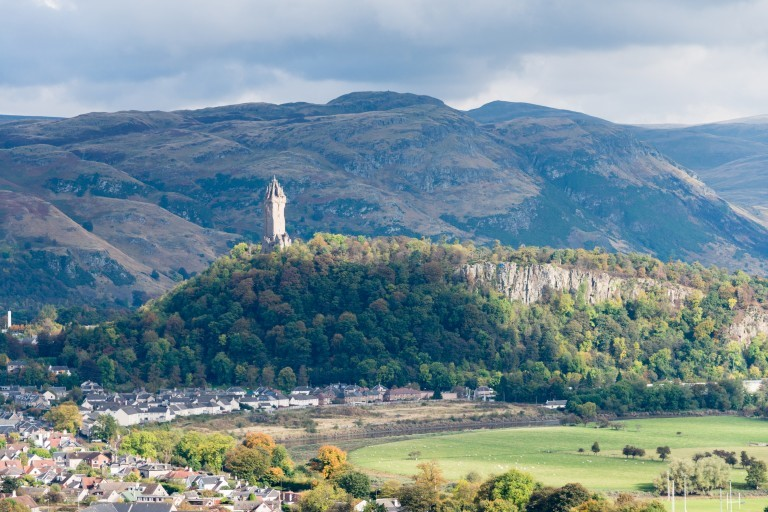 The Wallace Monument located ona crag overlooking the city of Stirling