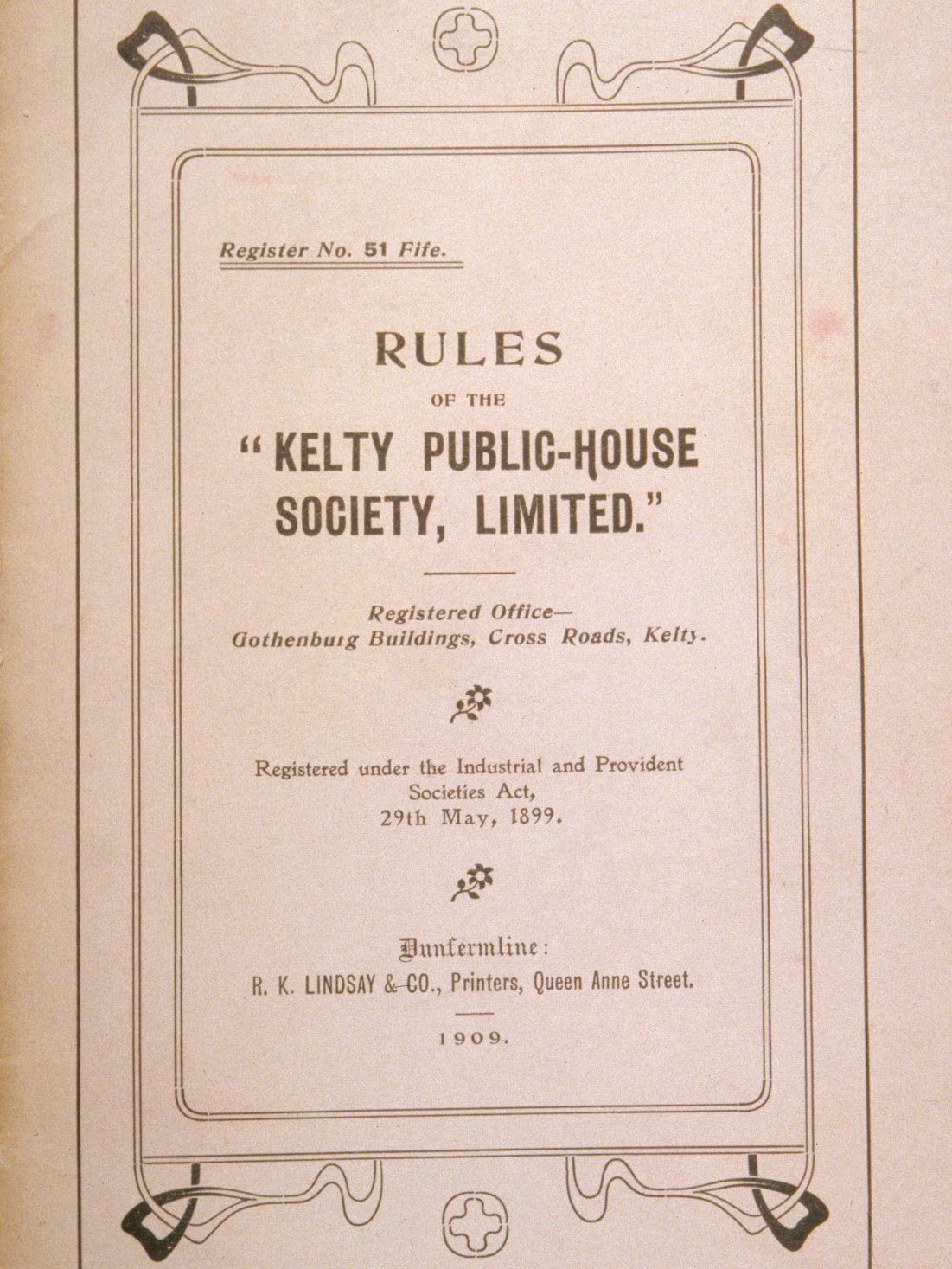 Front page of the 1909 printed rules of the Kelty Public House Society which opened one of Fife's many 'Goths'