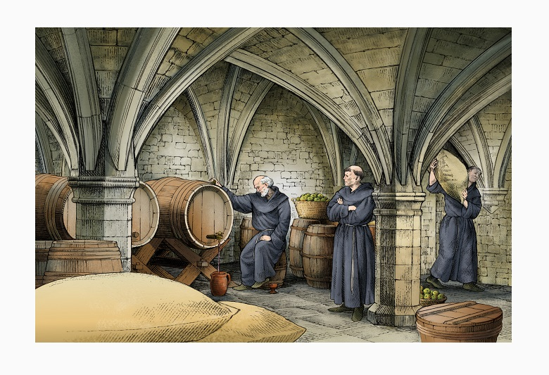 Illustration of three monks in a vaulted cellar. One carries a sack of grain while the other two inspect a vat of wine
