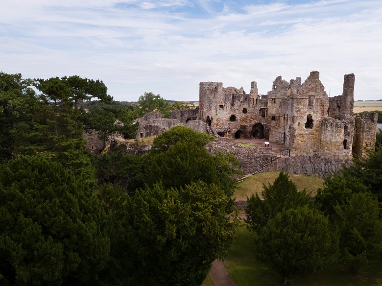 An aerial photo of Dirleton Castle taken by drone.