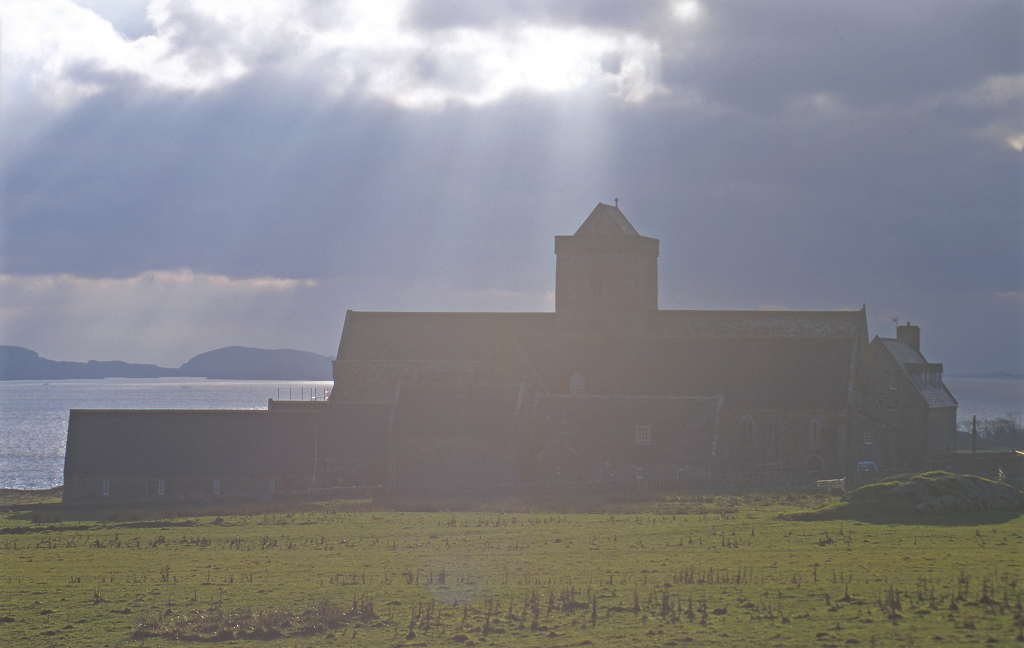 Exterior view of Iona Abbey drenched in sunlight