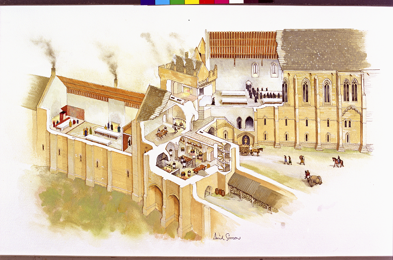 A drawing of a large abbey building with cut away sections showing monks working in a kitchen