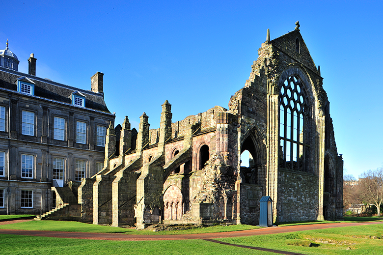 Exterior view of the ruins of Holyrood Abbey within the grounds of Holyrood Palace