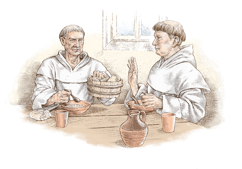 An illustration of two monks in white robes eating a basic meal