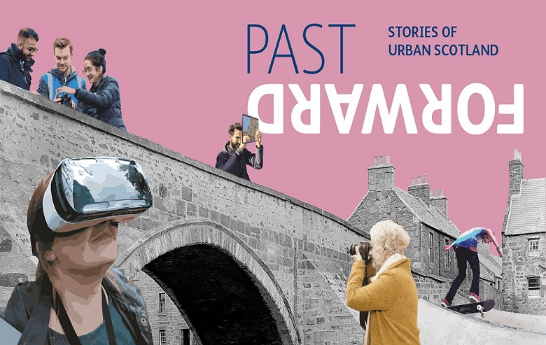 A graphic designed to advertise the Past Forward exhibition. Various characters of all ages and backgrounds are shown using digital technology in front of archive images of a bridge and urban buildings.