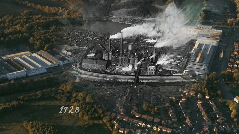 Archive image of an ironworks overliad onto modern terraced housing