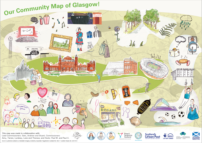 An alternative community map of Glasgow showing spots which mean most to members of Downs Syndrome Scotland