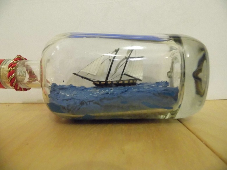 A model ship inside a small bottle