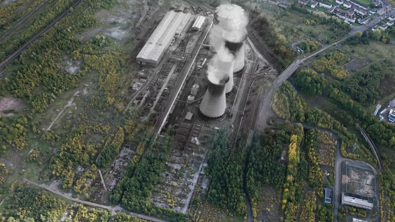 Archive image of an industrail site with three large cooling towers overlaid onto an aerial photo of wasteland  covered with shrubs and trees