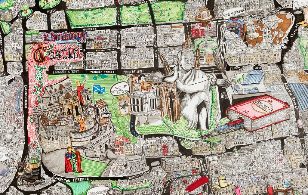 An alternative map of Edinburgh by John Quiroga. Waverley Station is depicted as a book, there are humanised versions of Usher Hall, a statue of David Hume and the National Galleries. Tourists using selfie sticks appear to be part of the structure of Edinburgh Castle