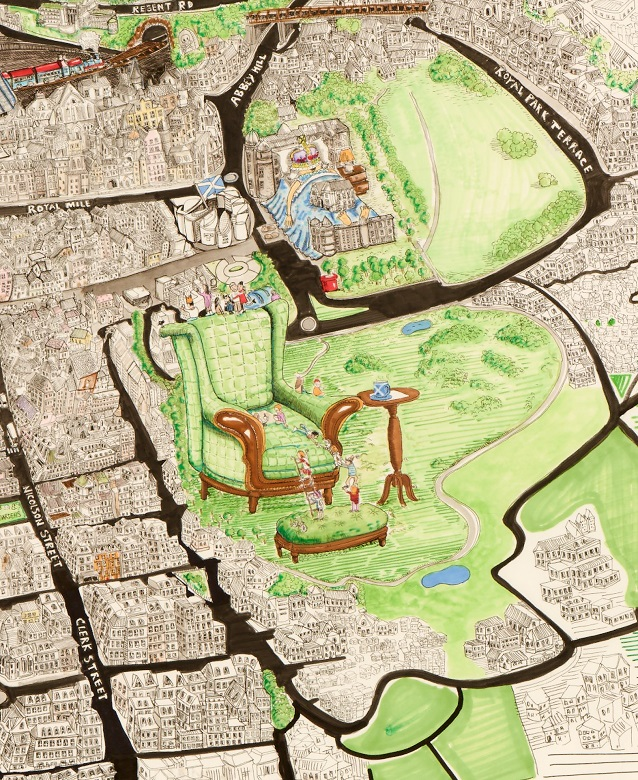 An alternative map of Edinburgh by John Quiroga. Arthur's Seat is depicted as a green armchair, Holyrood Palace is imagined as a giant bed, upon which a queen or princess is sleeping.