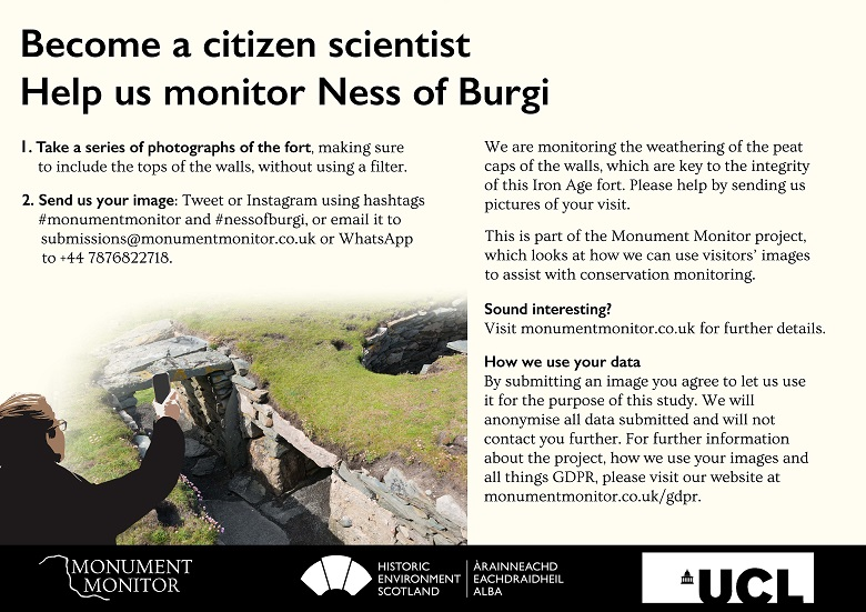 An example of Monument Monitor signage from the Ness of Burgi