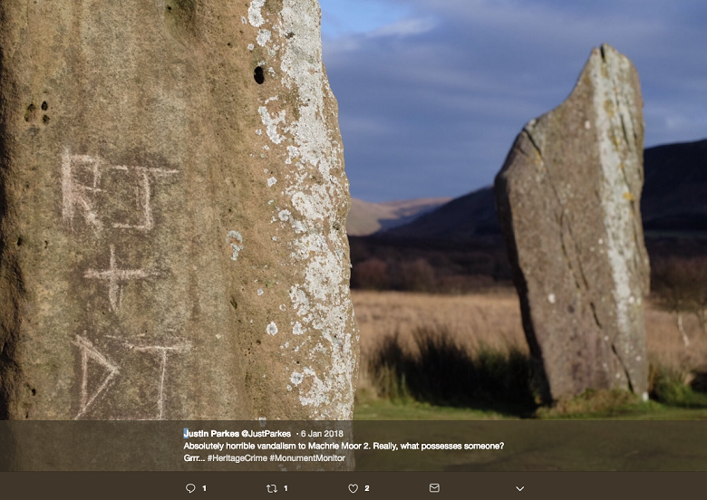 A screengrab of a tweet of a photo showing graffiti on a standing stone