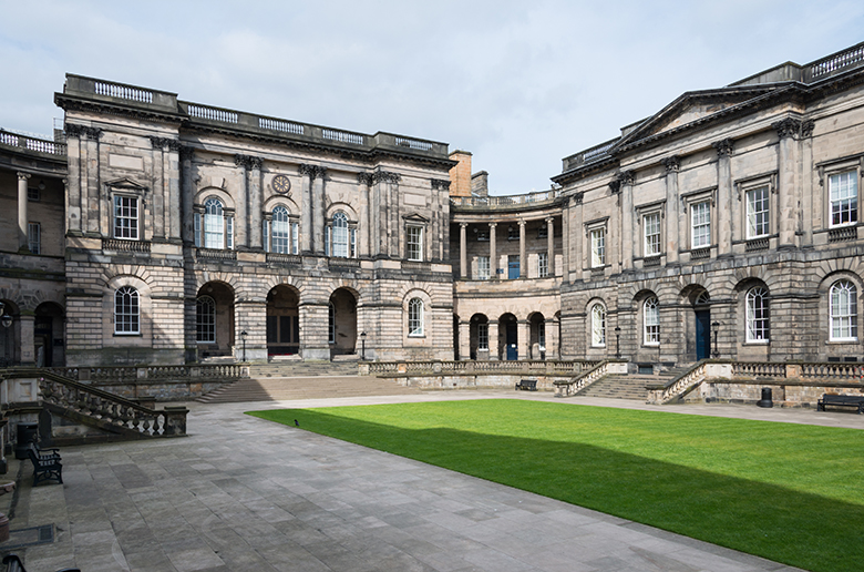 view of the quadrangle at Edinburgh University's Old College