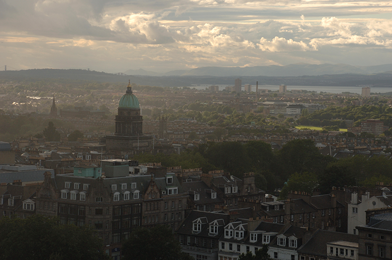 skyline view of Edinburgh at twilight