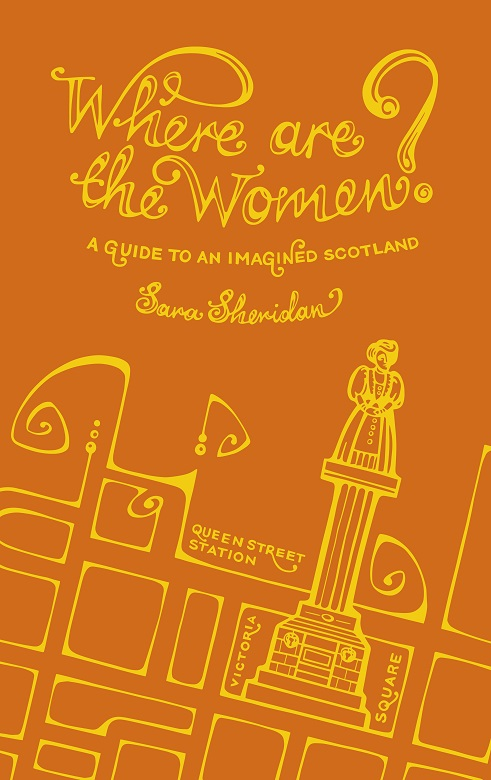 The front cover of the Where Are the Women? book. It is orange with gold text and an illustration of a street map featuring a monument
