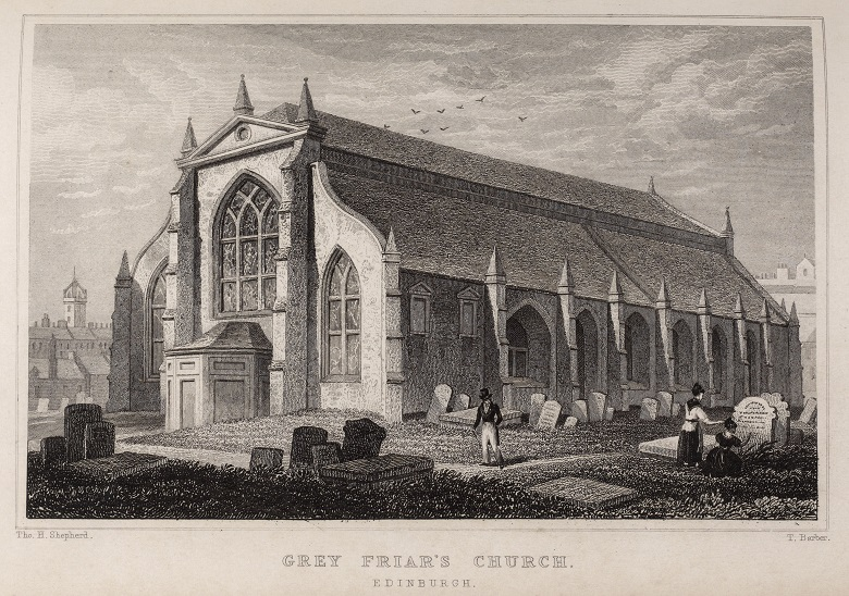 19th century engraving showing Greyfriar's Kirk in Edinburgh