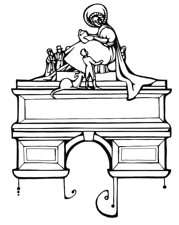 A black and white illustration of the imagined Ferrier Monument. It is a grand stone arch topped with a statue of a lady holding a book. Around her feet are numerous smaller figures including Walter Scott and a dog.