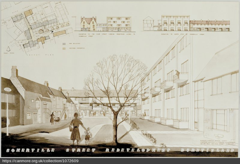 An illustrated graphic detailing architectural proposals for a street. It features a street map, building cross sections and an artist's impression of the scheme featuring drawings of residents.
