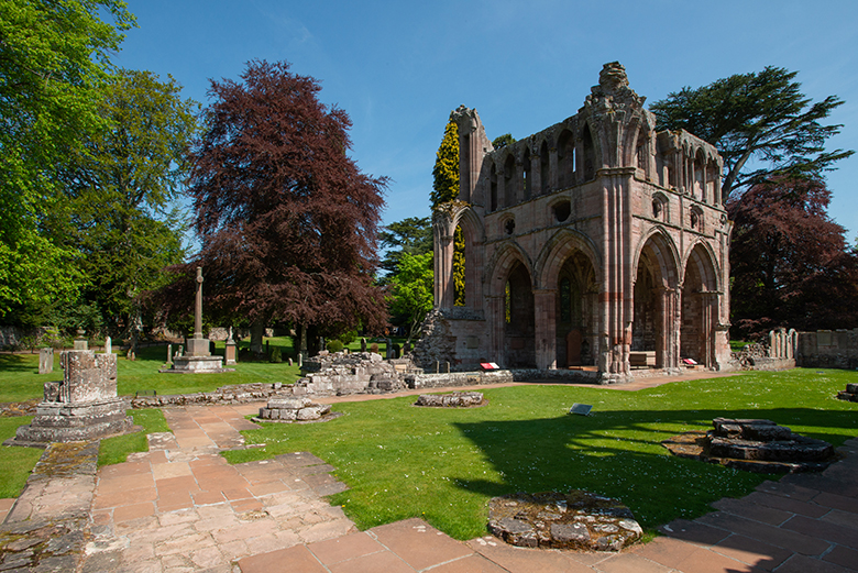 Dryburgh Abbey on a sunny day.