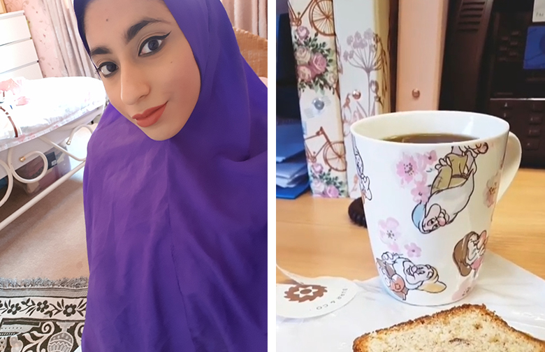 Two images side by side. On the left, Umara wearing a bright purple headscarf and sitting on her prayer mat. On the right, her Snow White mug - but this time with coffee and cake