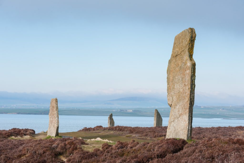 The Ring of Brodgar Stone Circle and Henge, part of the Heart of Neolithic Orkney World Heritage Site. The ring is surrounded by a large circular ditch or henge.