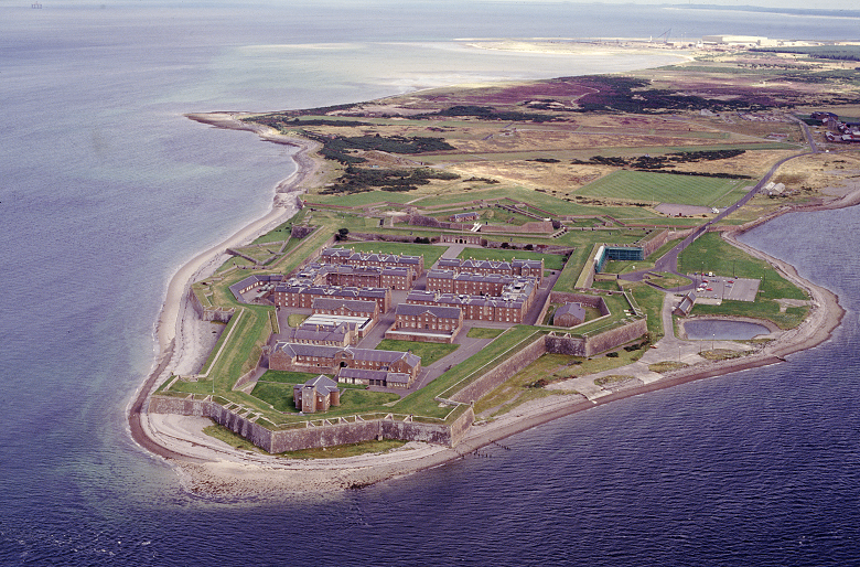 Aerial view of Fort George showing its remote location