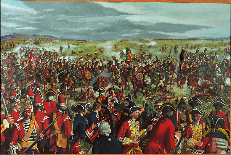 A crowded painting of the Battle of Culloden showing Jacobite forces charging