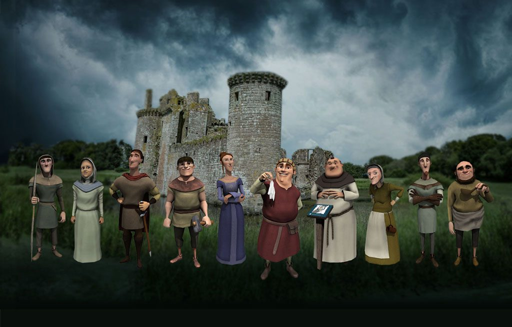 Cartoon characters stand in front of a castle with a moody sky behind them