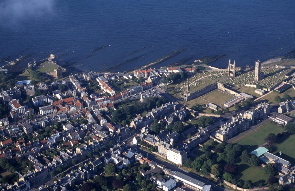 Aerial view o St Andrews showing the streets around the castle and cathedral