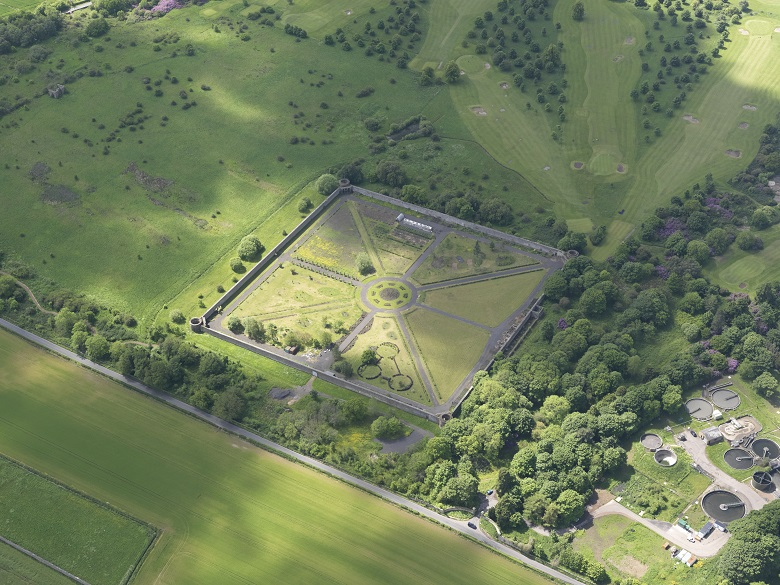 Aerial view of a symmetrical walled garden