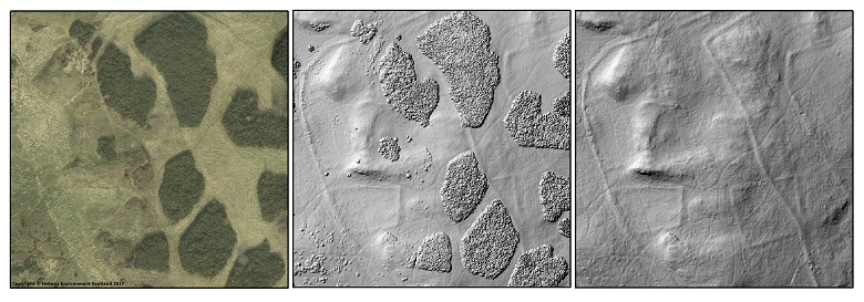 A digital scan of a section of Holyrood Park showing archaeological features beneath the grass