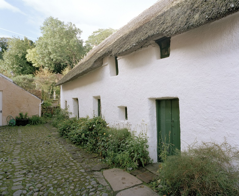 A white thatched cottage with green doors and plants growing around its walls