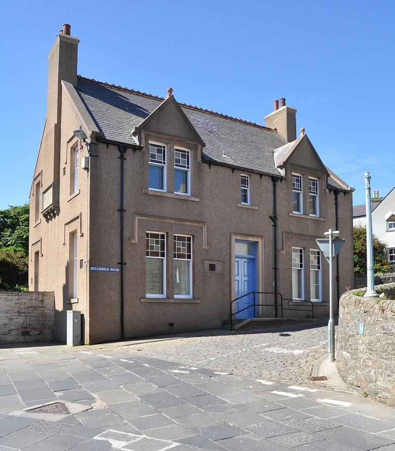 Modern photo of the restord Stromness Library building