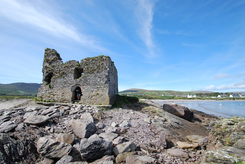 A castle ruin at the edge of the sea
