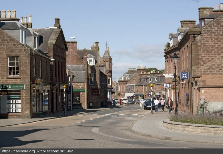 view down Turriff High Street which is a typical Scottish high street