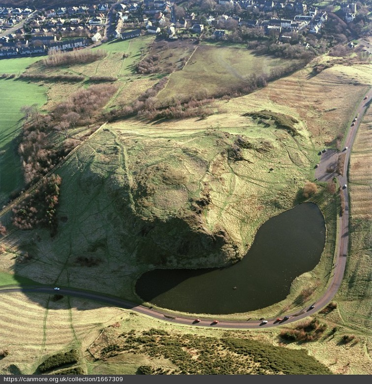 Aerial view of an ancient hill fort within Holyrood Park
