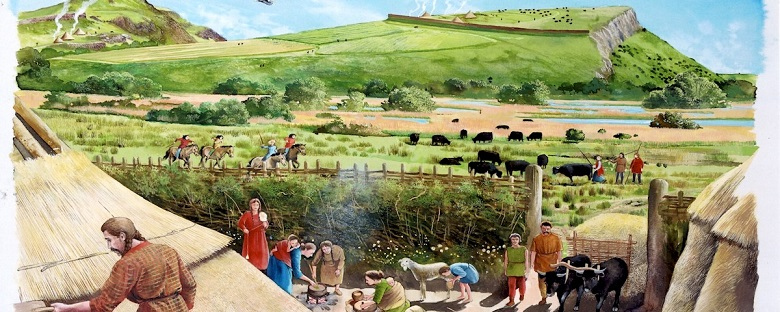 Artist's impression of a historic settlement in Holyrood Park populated by people and animals