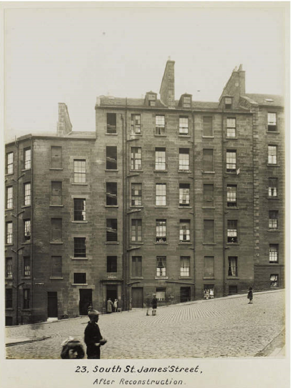 "Archive image of Edinburgh tenements. The caption reads ""23 South St James' Street. After Reconstruction"""