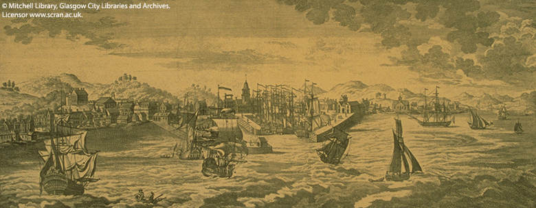 engraving showing a busy port with many sailing ships coming and going.
