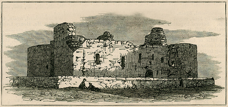 an engraving showing the castle after it had fallen into ruin.