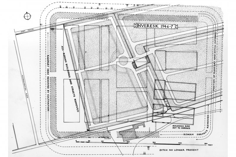 Scanned plans of an archaeological dig from the 1940s.