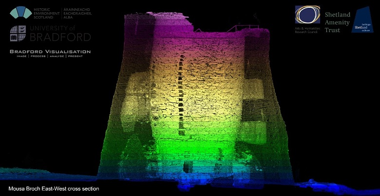 A colourful image from a laser scan of Mousa Broch