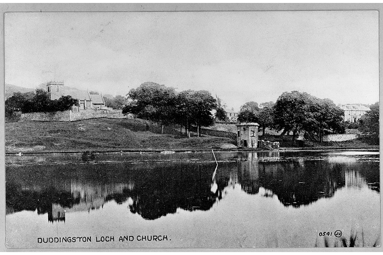 Vintage postcard of a church beside a loch with a curling house at the shore